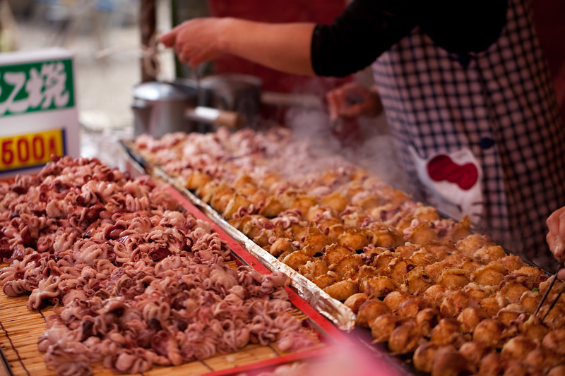 Food at the cherry blossom festival