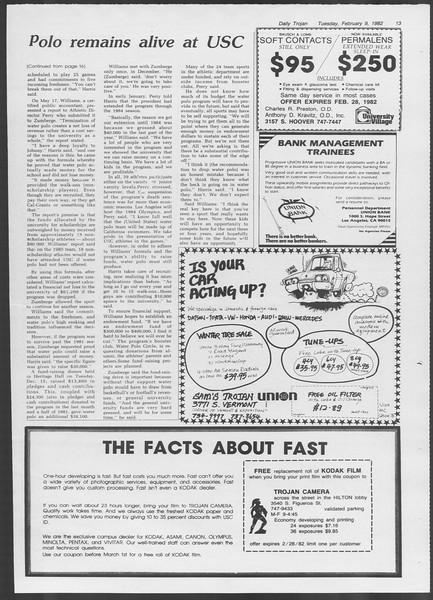 Daily Trojan, Vol. 91, No. 21, February 09, 1982