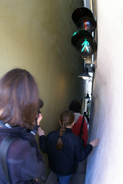 The alley here is so narrow they have a light to tell you when you can go through!