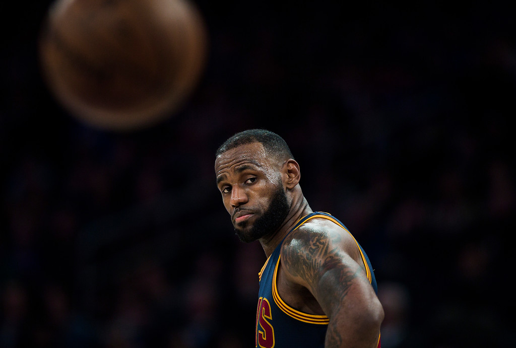 . Cleveland Cavaliers\' LeBron James pauses during the second half of the team\'s NBA basketball game against New York Knicks, Saturday, Feb. 4, 2017, in New York. (AP Photo/Andres Kudacki)