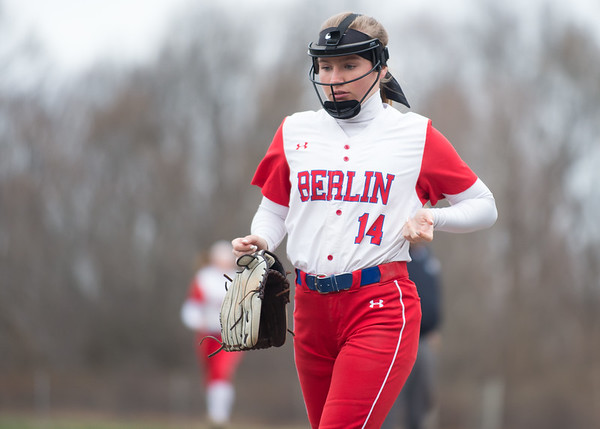 04/12/19 Wesley Bunnell | Staff Berlin softball defeated Platt Tech in an afternoon home game at Sage Park on Friday. Kelsei Zliczewski (14) runs off the field at the end of an inning.