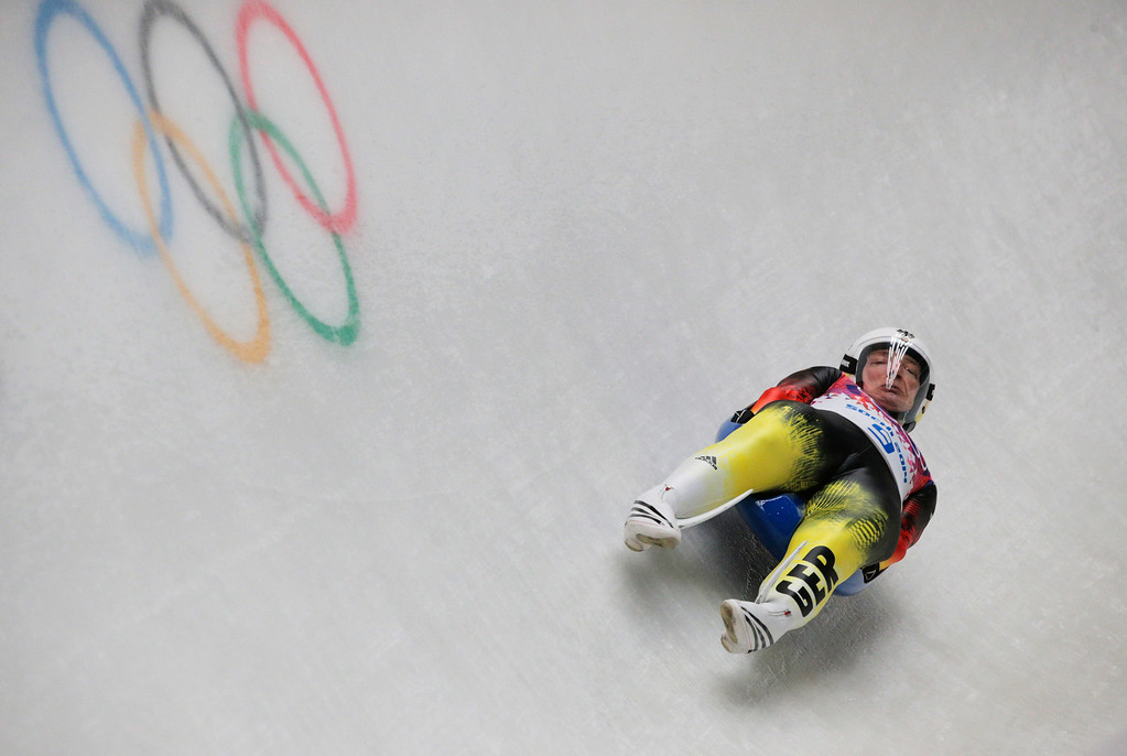 . Tatjana Huefner of Germany makes a run during the Women\'s Luge Singles on Day 3 of the Sochi 2014 Winter Olympics at Sliding Center Sanki on February 10, 2014 in Sochi, Russia.  (Photo by Adam Pretty/Getty Images)