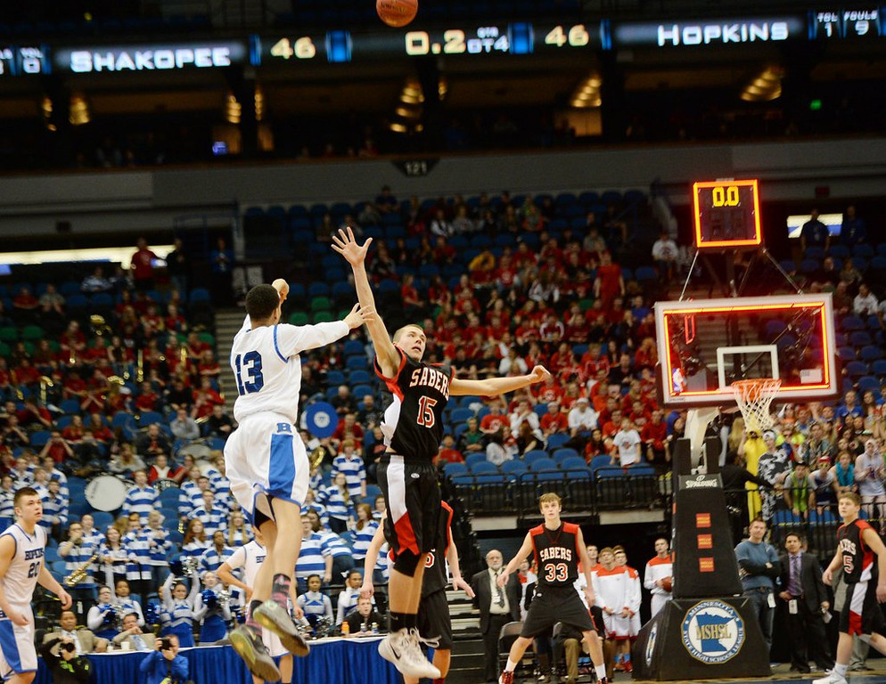 ". <p><b> Minnesota boys basketball history was made Thursday night in the Class AAAA semifinals when Hopkins � </b> <p> A. Won on a 60-foot shot by Amir Coffey at the end of the fourth overtime <p> B. Started a lineup made up entirely of transfer students <p> C. Froze the ball for three hours <p><b><a href=\'http://www.twincities.com/prep/ci_25340617/state-boys-basketball-hopkins-49-shakopee-46-4ot\' target=""_blank\"">HUH?</a></b> <p>    (Pioneer Press: John Autey)"