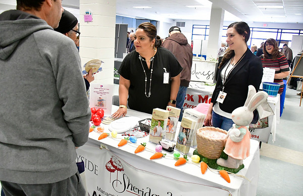 4/6/2019 Mike Orazzi | Staff Sheriden Woods Health Care Center's Anna Sumler and Kelsey Miller during the 5th Annual Connecticut Prime Time Senior Fair Saturday at Bristol Eastern High School.