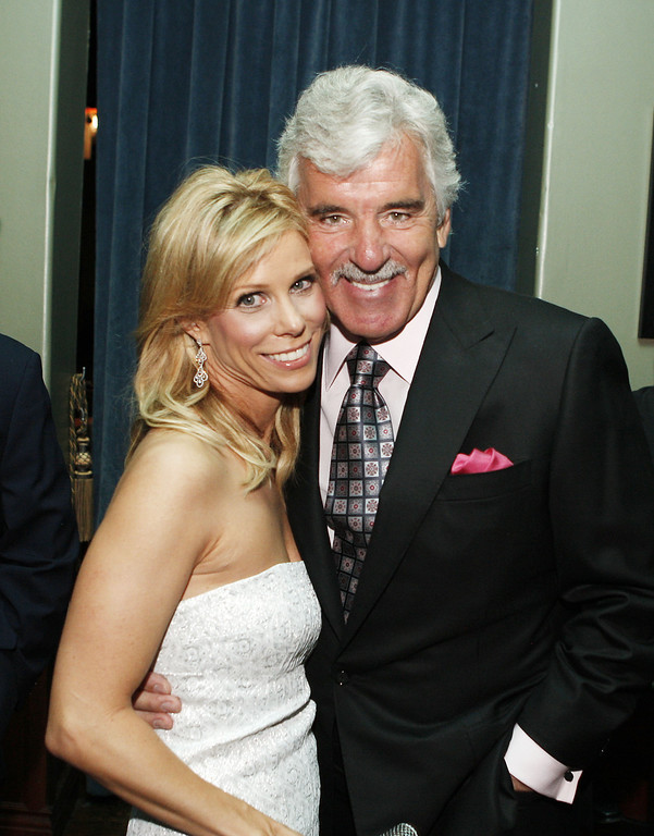""". Actors Cheryl Hines (L) and Dennis Farina pose at the afterparty for the premiere of Anchor Bay\'s \""""The Grand\"""" at the Cabana Club on March 5, 2008 in Los Angeles, California. (Photo by Kevin Winter/Getty Images)"""