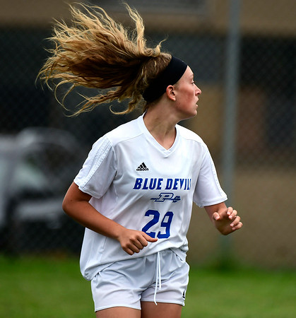 9/7/2018 Mike Orazzi | Staff Plainville's Lyndsey DiTolla (29) during Friday's soccer at BC.