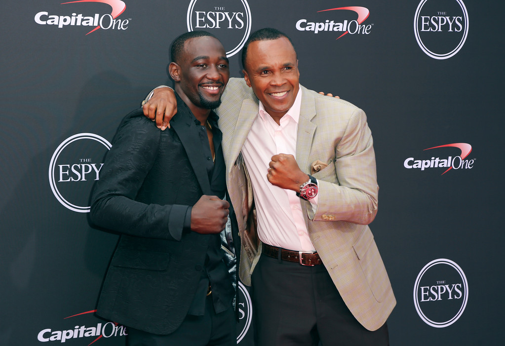 . Sugar Ray Leonard, right, and Terence Crawford arrive at the ESPY Awards at Microsoft Theater on Wednesday, July 18, 2018, in Los Angeles. (Photo by Willy Sanjuan/Invision/AP)