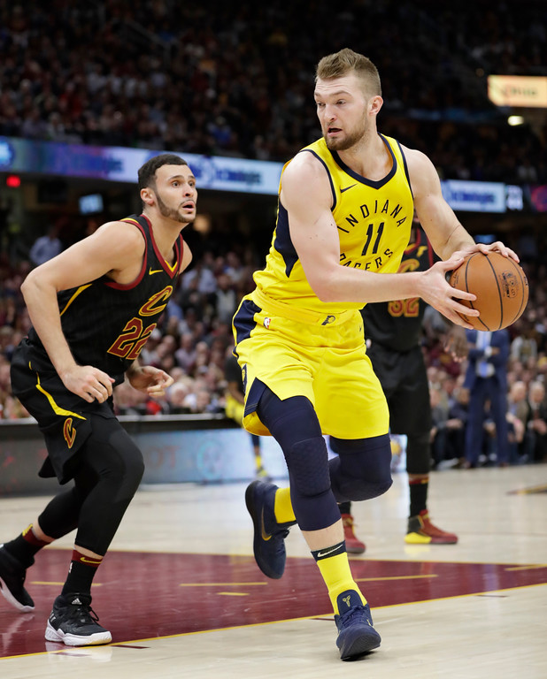 . Indiana Pacers\' Domantas Sabonis (11), from Lithuania, looks to pass against Cleveland Cavaliers\' Larry Nance Jr. (22) in the second half of Game 5 of an NBA basketball first-round playoff series, Wednesday, April 25, 2018, in Cleveland. (AP Photo/Tony Dejak)