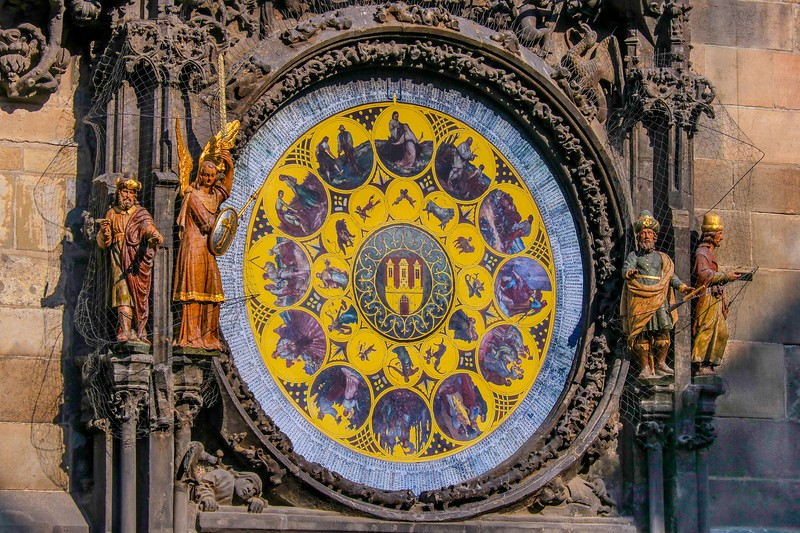 Part of the astronomical Clock around the corner of the main plaza shown in the previous photo.