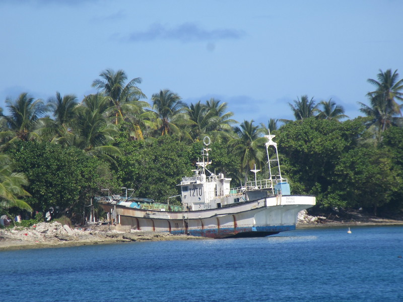 036_Funafuti. Because of low elevation, the islands are vulnerable to the effects of tropical cyclones (180km per hr). 7-8 cyclones per year. Starts in Tuvalu, goes to Nauru , than Fiji.JPG