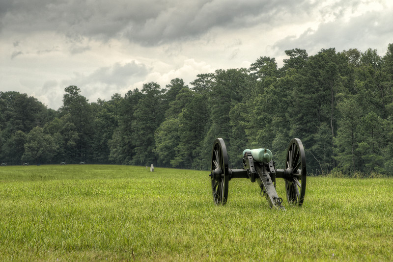 A single canon in a large field at Chickamauga & Chattanooga National Military Park in Fort Oglethorpe, GA on Thursday, July 23, 2015. Copyright 2015 Jason Barnette