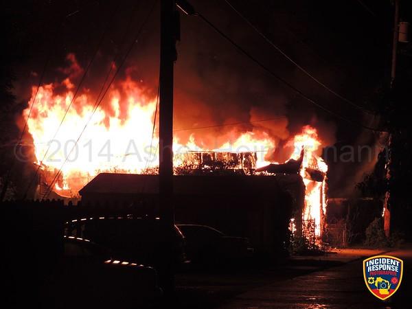 Garage fire on June 20, 2014