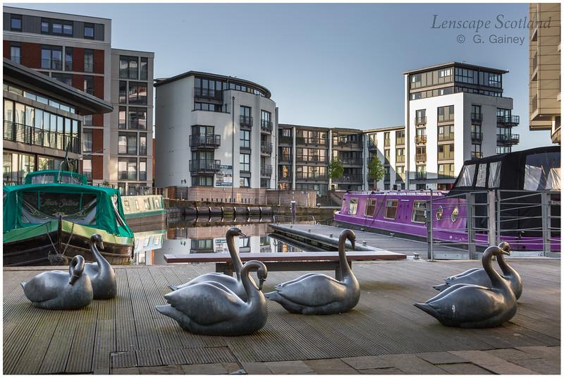 Union Canal Lochrin Basin swan sculpture, Fountainbridge