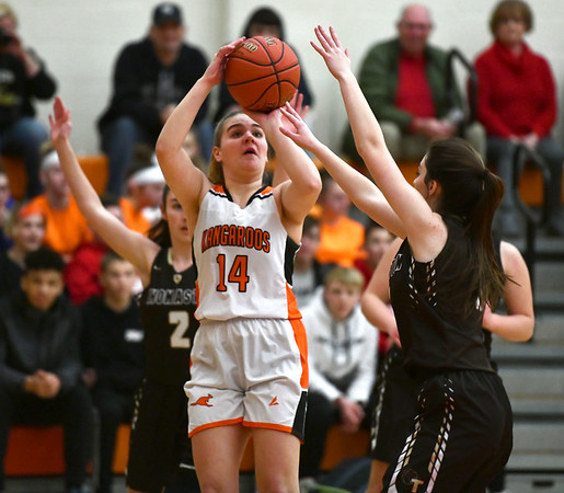 2/14/2020 Mike Orazzi | StaffrTerryville High School's Taylor Barnett (14) during Friday evening's girls basketball game with Thomaston in Terryville.