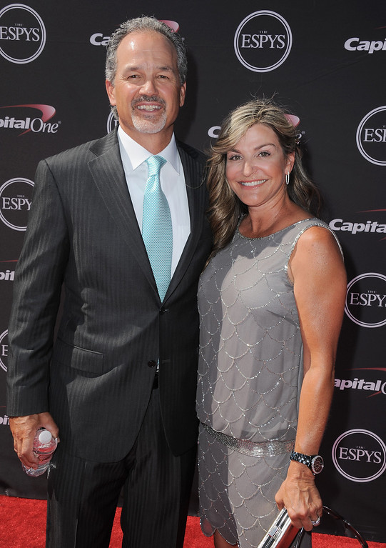 . Indianapolis Colts coach Chuck Pagano, left, and Tina Pagano arrive at the ESPY Awards on Wednesday, July 17, 2013, at the Nokia Theater in Los Angeles. (Photo by Jordan Strauss/Invision/AP)