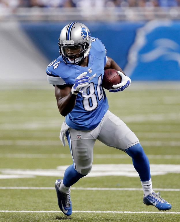 . Detroit Lions wide receiver Ryan Broyles runs after a catch against the Jacksonville Jaguars in the second half of a preseason NFL football game at Ford Field in Detroit, Friday, Aug. 22, 2014.  (AP Photo/Duane Burleson)