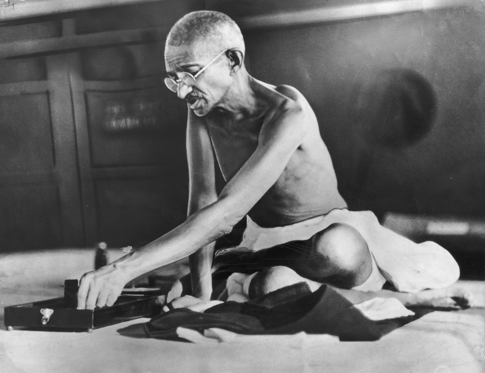 . Indian spiritual and political leader Mahatma Gandhi, circa 1935.  (Photo by Hulton Archive/Getty Images)