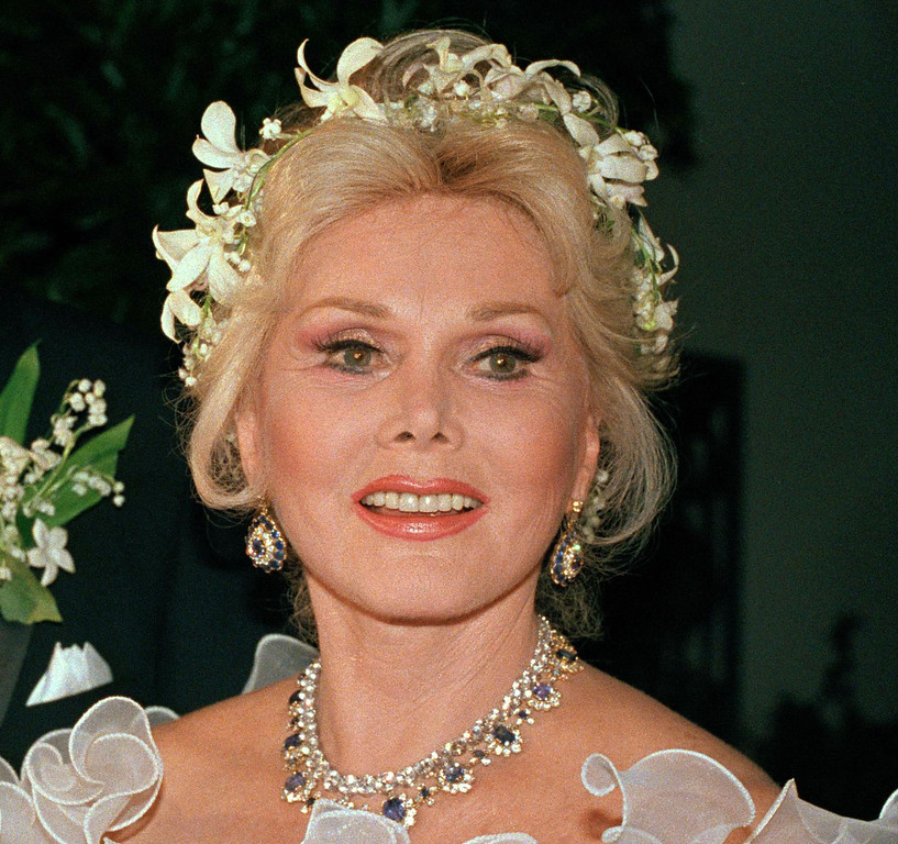 . In this Aug. 15, 1986 file photo, actress Zsa Zsa Gabor is shown Los Angeles.  Gabor died Sunday, Dec. 18, 2016, of a heart attack at her Bel-Air home, her husband, Prince Frederic von Anhalt, said. She was 99. (AP Photo/File)