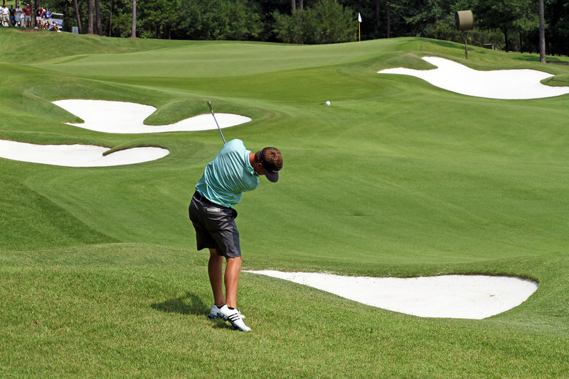 Sean Dale of Jacksonville, FL approaches the 15th green during the semifinals of the 111th Western Amateur at The Alotian Club in Roland, AR. (WGA Photo/Ian Yelton)