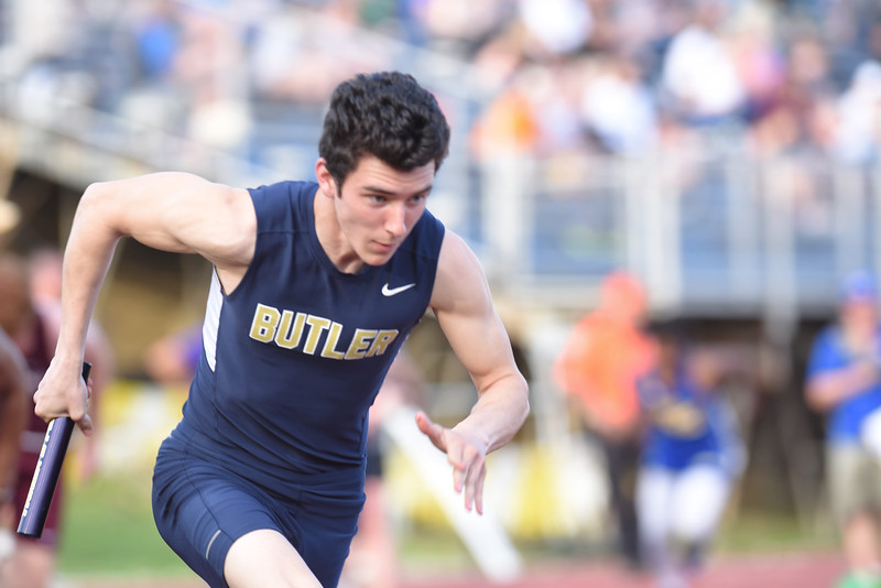 Cody Reddick charges off the blocks in the 4x100 relay at Thursday's Butler Invitational. Seb Foltz/Butler Eagle