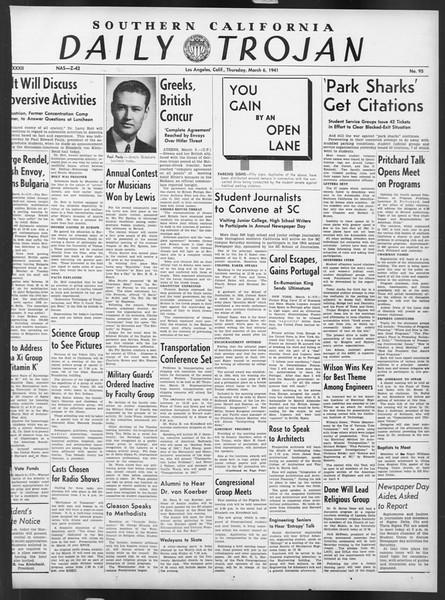 Daily Trojan, Vol. 32, No. 95, March 06, 1941
