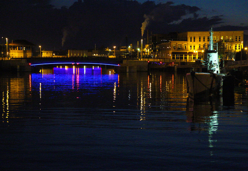 Night view of the Manitowoc moorage.