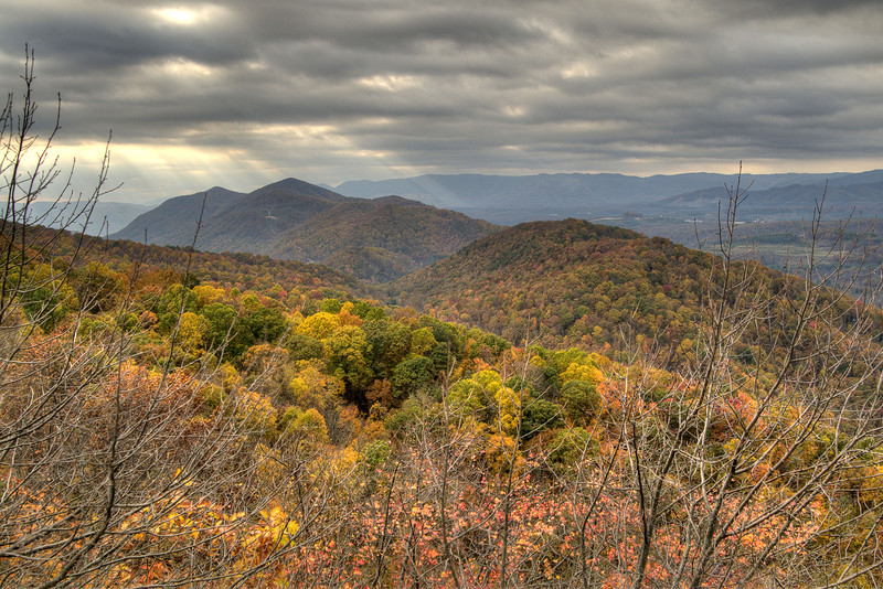 Brilliant fall colors along the mountains at the Flag Rock Recreation Area in Norton, VA on Saturday, October 25, 2014. Copyright 2014 Jason Barnette
