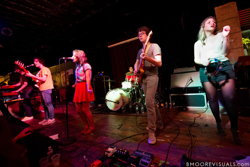 Wes Miles, Mathieu Santos, Alexandra Lawn, Gabriel Duquette, Milo Bonacci, and Rebecca Zeller of Ra Ra Riot performs on March 9, 2011 for a sold-out crowd at Crowbar in Tampa, Florida