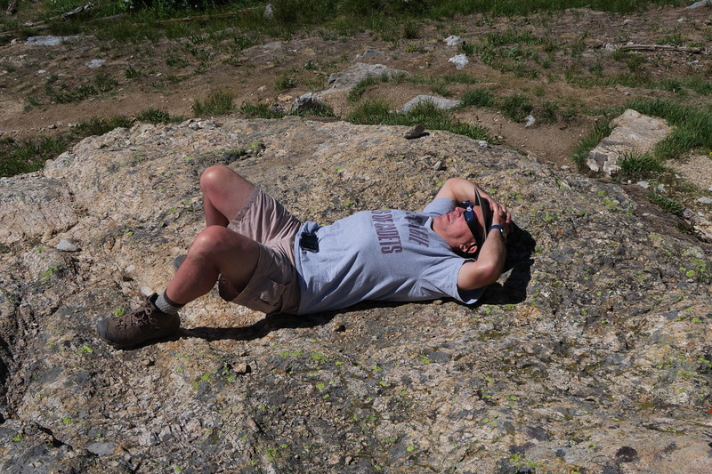David naps in preparation for the total eclipse of the sun in South Cascade Canyon