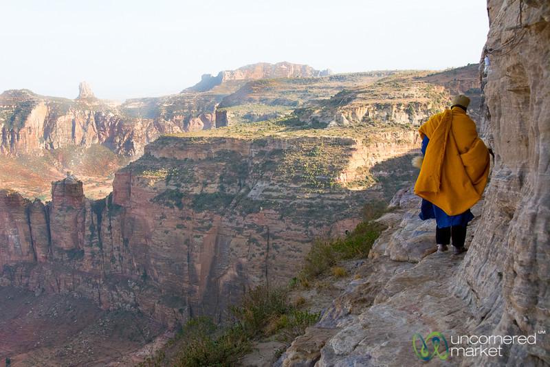 Following the Monk on a Cliff's Edge to Daniel Korkor Cave Church - Tigray, Ethiopia