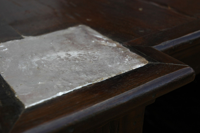 "detail of Pewter Inlay on the ""dance floor"" coffee table. Design by Maison MAISON"