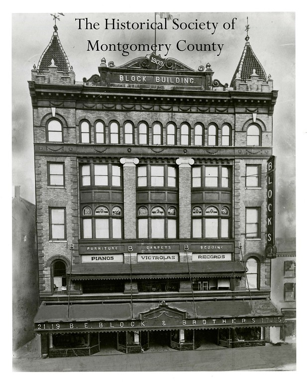 . This photo from the Historical Society of Montgomery County shows the Blocks Building in Norristown at the turn of the century (about 1900).