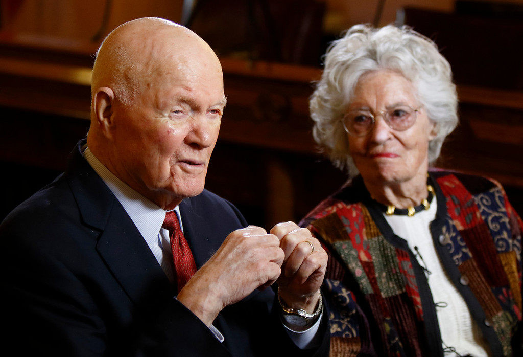 . FILE � In this May 14, 2015, file photo, former astronaut and U.S. Sen. John Glenn, D-Ohio, left, answers questions with his wife Annie Glenn during an interview with The Associated Press at the Ohio Statehouse in Columbus, Ohio. Glenn, the first American to orbit the Earth, turned 95 on Monday, July 18, 2016, and was trending on Twitter as well-wishers recognized his birthday. (AP Photo/Paul Vernon, File)