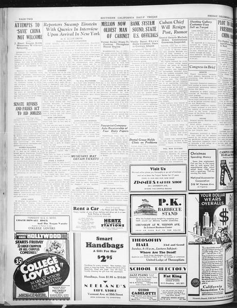 Daily Trojan, Vol. 22, No. 62, December 12, 1930