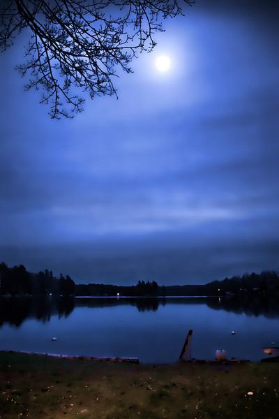 Higley lit by moonlight.
