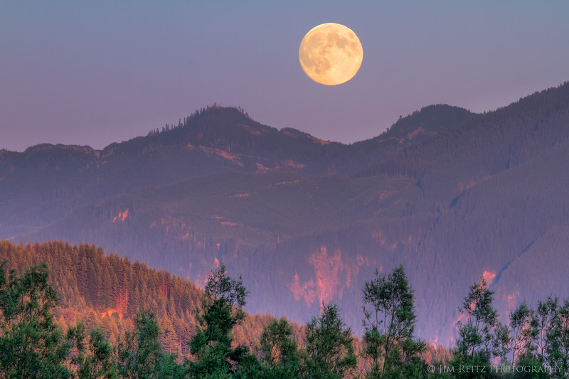 Moonrise over the Cascade foothills, near Fall City