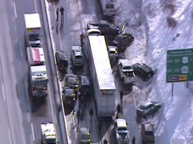 . This video frame grab provided by Fox 29 Philadelphia shows traffic accidents involving multiple tractor trailers and dozens of cars on Pennsylvania Turnpike outside Philadelphia, on Friday, Feb. 14, 2014.  The crashes were reported just after 8 a.m. Friday, one day after the area got about a foot of snow that left roads slick. Television news helicopter footage showed several tractor-trailers and dozens of cars involved in a series of accidents that had backed up traffic for miles between the Bensalem and Willow Grove exits. (AP Photo/Fox 29 Philadelphia)