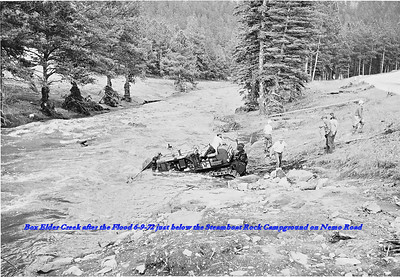 Box Elder Creek after the Flood of 6/9/72 just below the Steamboat Rock Campground on Nemo Road.