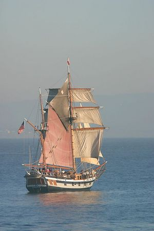 The Hawaiian Chieftain, a replica of a typical European trading vessel of the 1790's, California.