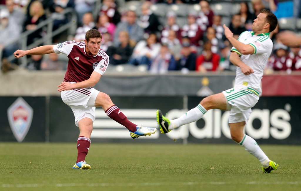 . Dillon Powers (8) of the Colorado Rapids scored in the first half. The Colorado Rapids hosted the Portland Timbers Saturday, March 30, 2013 at Dick\'s Sporting Goods Park in Commerce City.  Photo By Karl Gehring/The Denver Post)