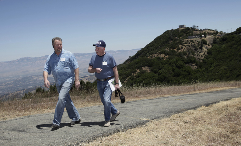 . 2010: Air Force veterans J.D. Whitaker, left, and Bob Watts revisit the top of   Mt. Umunhum after a ceremony marking the start of clean-up at the former Air Force station. Whitaker served at the base in the late 1970s, and Watts served there in the early 1960s.  (Gary Reyes /Mercury News)