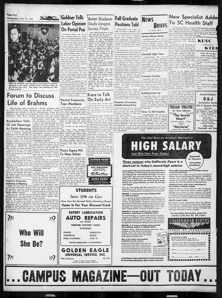 Daily Trojan, Vol. 38, No. 78, February 19, 1947