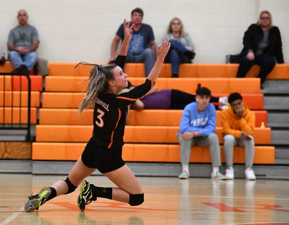 10/18/2019 Mike Orazzi | StaffrTerryville's Abi DellaVecchia (3) during Friday night's girls volleyball match with Goodwin Tech in Terryville. r