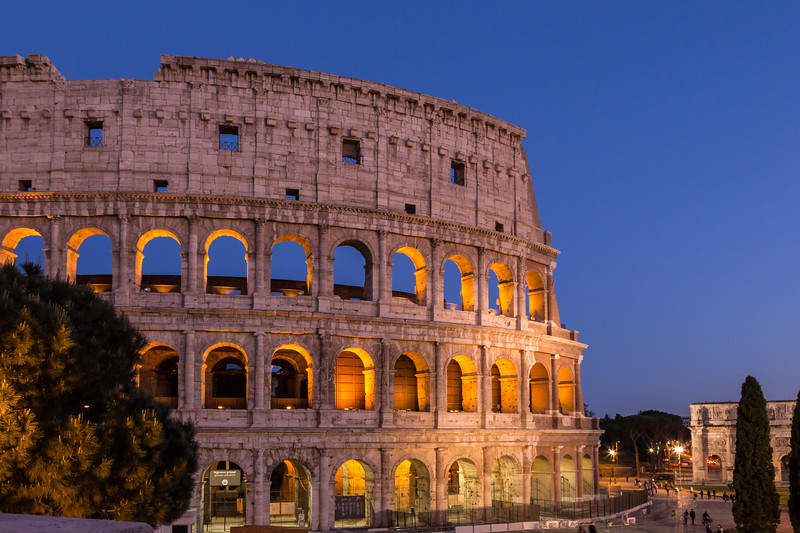 the roman colosseum in the evening