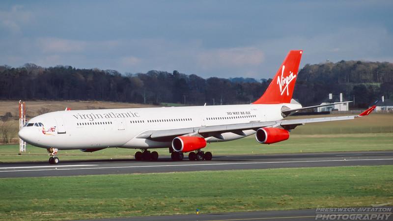 G-VBUS. Airbus A340-311. Virgin Atlantic. Prestwick. April. 1999.