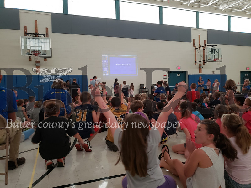 Center Township Elementary students play good behavior themed jeopardy in a school assembly Friday.