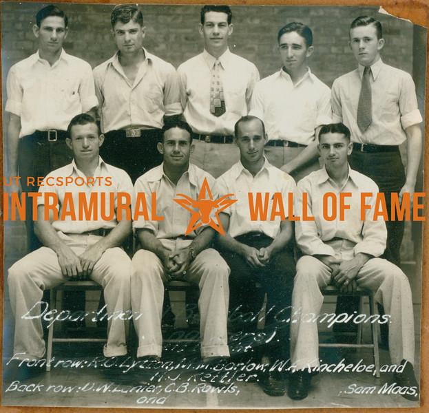 BASEBALL Departmental Champions  Engineers  R1: D. W. Lanier, C. B. Rowls, ------. Sam Maas R2: R. O. Lytton, M. M. Barlow, W. A. Kincheloe,  H. J. Kettler