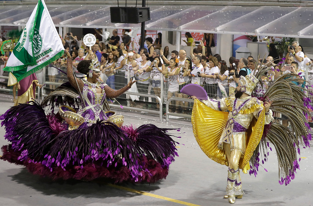 . Dancers from the Mancha Verde samba school perform during a carnival parade in Sao Paulo, Brazil, Saturday, Feb. 25, 2017. (AP Photo/Andre Penner)