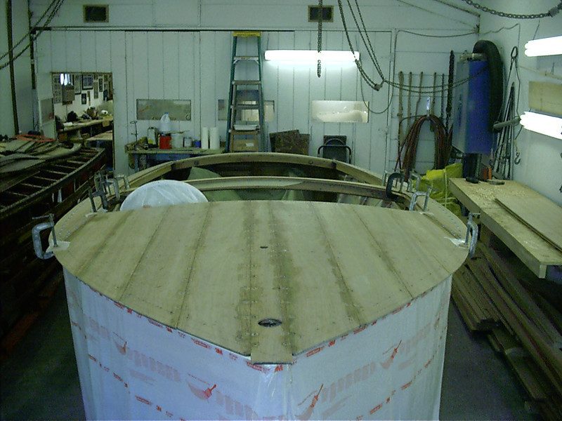 Front view of cover boards glued in place.