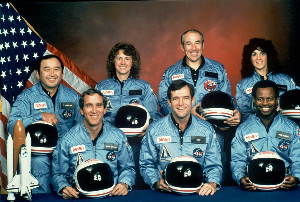 . This is the official NASA photo of the crew of the space shuttle Challenger mission 51L. All seven members of the crew were killed when the shuttle exploded during launch on Jan. 28, 1986. From front left, are: astronauts Michael J. Smith, Francis R. (Dick) Scobee, and Ronald E. McNair. Rear left are: Ellison Onizuka, Christa McAuliffe, Gregory Jarvis and Judith Resnik. (AP Photo/Files)